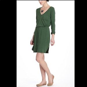 Bordeaux Green Jersey v neck Pocket Dress